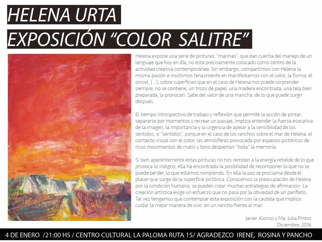 """Helena Urta - Exposición """"Color Salitre"""""""