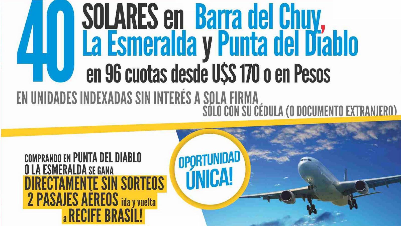 Gran remate de solares en Punta del Diablo, La Esmeralda y Barra del Chuy en Carnaval!